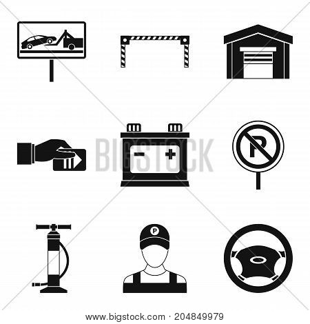 Car breakdown icons set. Simple set of 9 car breakdown vector icons for web isolated on white background