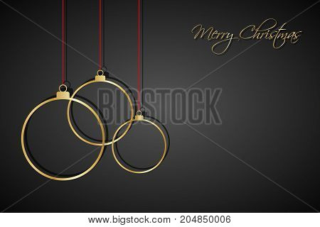 Three golden christmas balls with red strings on black background holiday greeting card with merry christmas sign