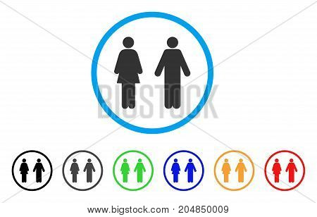 WC Persons rounded icon. Style is a flat wc persons gray symbol inside light blue circle with black, gray, green, blue, red, orange versions. Vector designed for web and software interfaces.