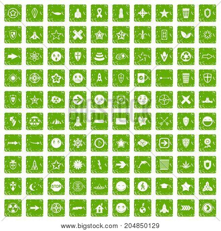 100 logotype icons set in grunge style green color isolated on white background vector illustration