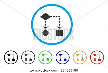 Algorithm Flowchart rounded icon. Style is a flat algorithm flowchart grey symbol inside light blue circle with black, gray, green, blue, red, orange variants.