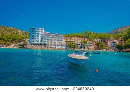 SANT ELM, MAJORCA, SPAIN - AUGUST 18 2017: Nice boat on regular tours between Sant Elm and Dragonera island in Sant Elm, Majorca, Spain.