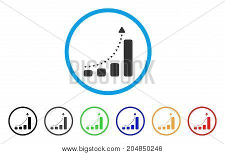 Bar Chart Positive Trend rounded icon. Style is a flat bar chart positive trend grey symbol inside light blue circle with black, gray, green, blue, red, orange variants.