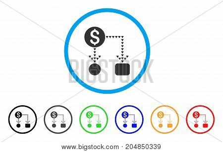 Cashflow Scheme rounded icon. Style is a flat cashflow scheme grey symbol inside light blue circle with black, gray, green, blue, red, orange color versions.