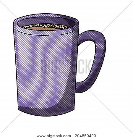 tubular mug of coffee colored crayon silhouette vector illustration