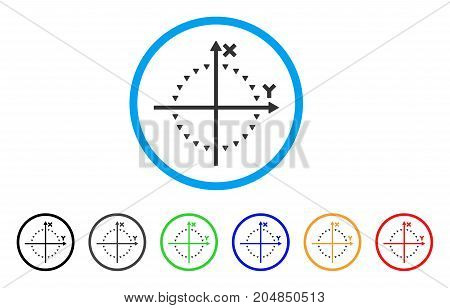 Dotted Circle Plot rounded icon. Style is a flat dotted circle plot gray symbol inside light blue circle with black, gray, green, blue, red, orange variants.