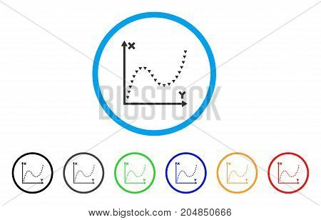Dotted Function Graph rounded icon. Style is a flat dotted function graph gray symbol inside light blue circle with black, gray, green, blue, red, orange variants.