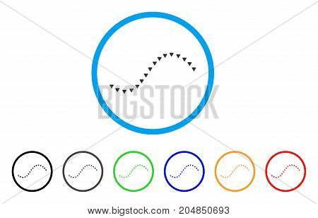 Dotted Function Line rounded icon. Style is a flat dotted function line grey symbol inside light blue circle with black, gray, green, blue, red, orange color versions.