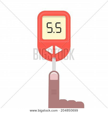 blood test with dark-skinned hand. concept of healthcare, glaucometer display, result, therapy, hospital, bleed, self-control. flat style trend modern design vector illustration on white background