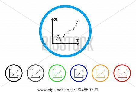 Dotted Function Plot rounded icon. Style is a flat dotted function plot gray symbol inside light blue circle with black, gray, green, blue, red, orange variants.