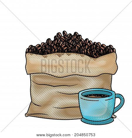 bag with beans and cup of coffee colored crayon silhouette vector illustration
