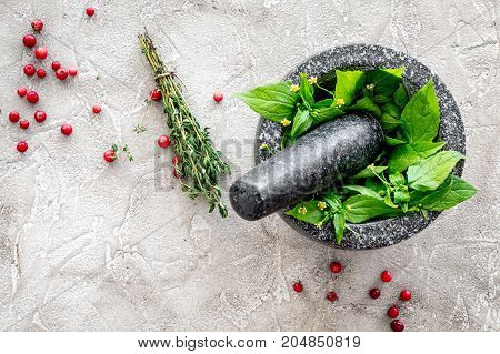 berries and herbs in mortar for making spices in food set on stone table background top view space for text