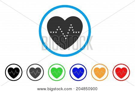 Dotted Heart Pulse rounded icon. Style is a flat dotted heart pulse grey symbol inside light blue circle with black, gray, green, blue, red, orange versions.
