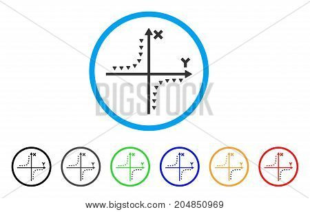 Dotted Hyperbola Plot rounded icon. Style is a flat dotted hyperbola plot gray symbol inside light blue circle with black, gray, green, blue, red, orange versions.