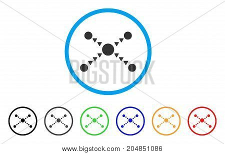 Dotted Links rounded icon. Style is a flat dotted links gray symbol inside light blue circle with black, gray, green, blue, red, orange color versions. Vector designed for web and software interfaces.