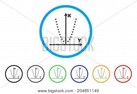 Dotted Parabola Plot rounded icon. Style is a flat dotted parabola plot grey symbol inside light blue circle with black, gray, green, blue, red, orange versions.
