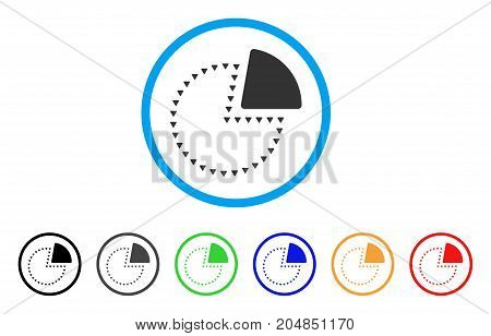 Dotted Pie Chart rounded icon. Style is a flat dotted pie chart gray symbol inside light blue circle with black, gray, green, blue, red, orange variants.