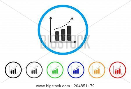 Dotted Positive Trend rounded icon. Style is a flat dotted positive trend gray symbol inside light blue circle with black, gray, green, blue, red, orange color versions.