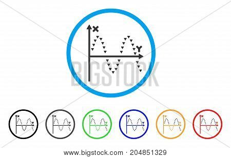 Dotted Sine Plot rounded icon. Style is a flat dotted sine plot grey symbol inside light blue circle with black, gray, green, blue, red, orange variants.