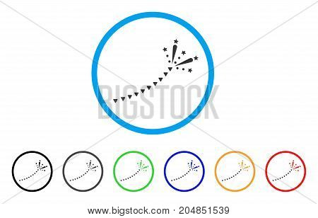 Fireworks Trace rounded icon. Style is a flat fireworks trace gray symbol inside light blue circle with black, gray, green, blue, red, orange color versions.