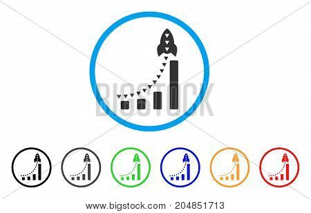 Rocket Business Bar Chart rounded icon. Style is a flat rocket business bar chart grey symbol inside light blue circle with black, gray, green, blue, red, orange versions.