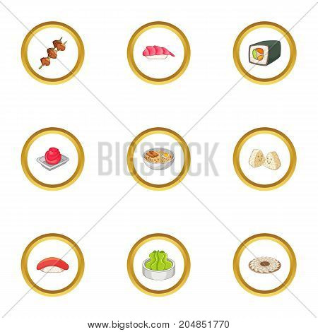 Japanese food icons set. Cartoon style set of 9 japanese food vector icons for web design