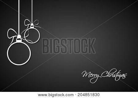 Christmas greeting card with simple white christmas balls and Merry Christmas sign