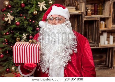 Merry Christmas. Waist up portrait of cheerful Father Frost congratulating with holiday. He is holding big present box while standing near fir-tree