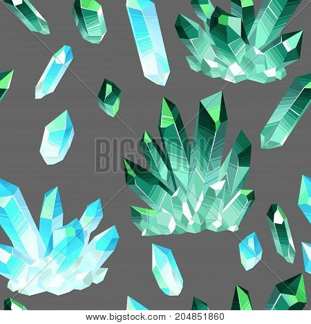 Vector seamless pattern with colorful fairytale crystals gems