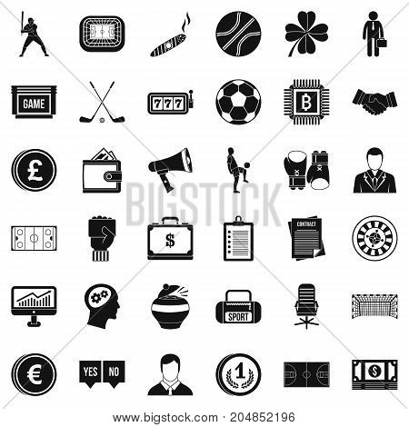 Roulette icons set. Simple style of 36 roulette vector icons for web isolated on white background