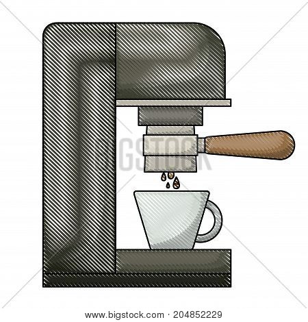 coffee espresso machine side view colored crayon silhouette vector illustration
