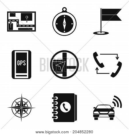 GPS tracking icons set. Simple set of 9 gps tracking vector icons for web isolated on white background