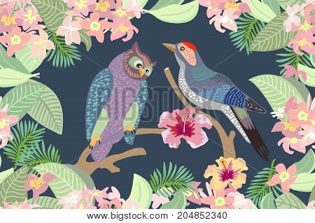 Seamless vector print with owl, woodpecker, blooming flowers and leaves. Victorian motifs.
