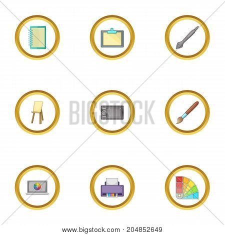 Computer drawing tool icons set. Cartoon style set of 9 computer drawing tool vector icons for web design