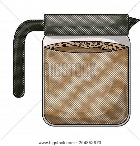 glass jar of coffee with handle colored crayon silhouette vector illustration