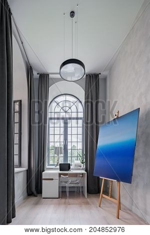 Modern Painting, Desk And Chair