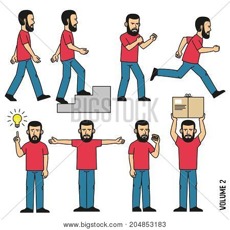 Man in jeans and T-shirt goes rises the steps runs stands in boxing rack eats sandwich holds parcel comes up with an idea outstretched arms to the sides.
