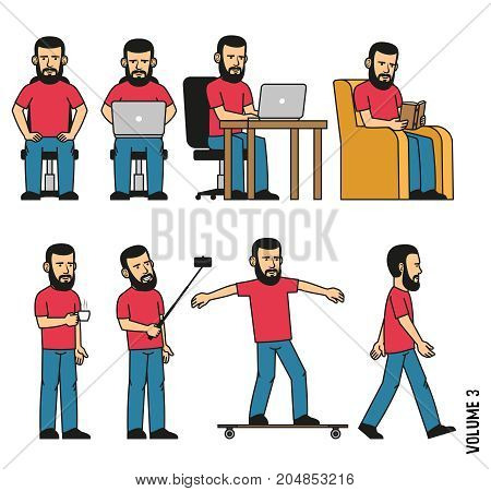 Man with beard sits works on laptop reads book in chair makes selfie drinks coffee rides longboard. Vector illustration. It can be easily disassembled on body parts.