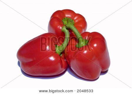 Three Red Sweet Pepper