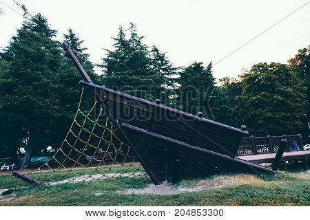 Summer holiday by the sea. A playground is located on the playground