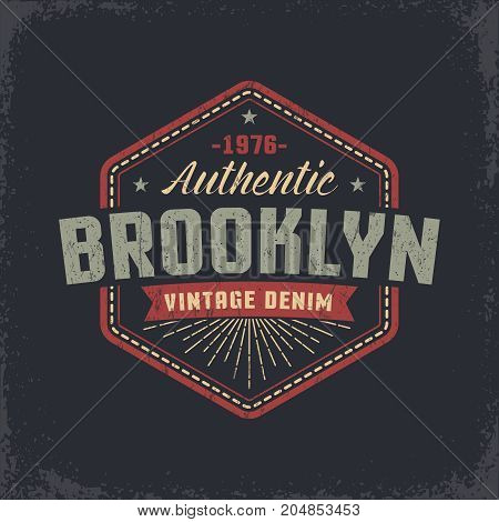 Authentic Brooklyn grunge retro design of the label badge print on the T-shirt. Worn texture on a separate layer and easily deactivated.