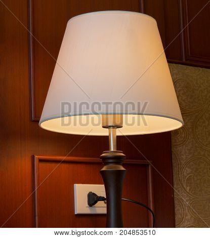 retro classic lamp light at bedroom in hotel