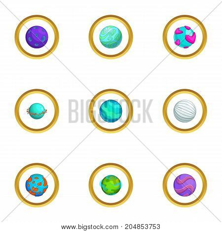 Space planet icons set. Cartoon style set of 9 space planet vector icons for web design