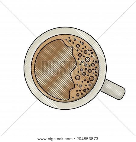 top view cup of coffee colored crayon silhouette vector illustration