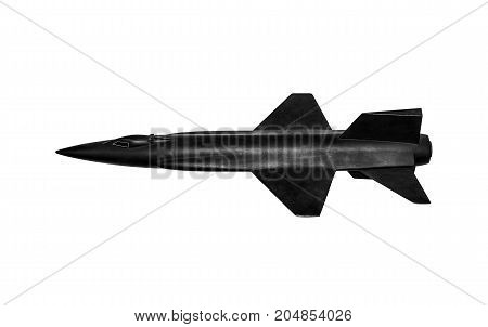 Black military manned rocket on white background.