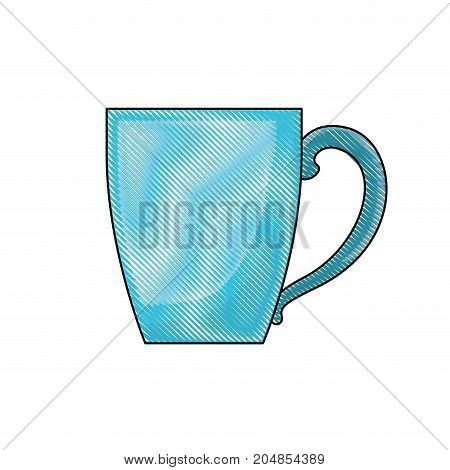 porcelain mug of coffee with handle colored crayon silhouette vector illustration
