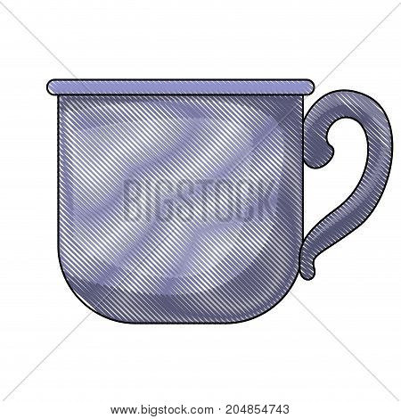 glass mug of coffee with handle colored crayon silhouette vector illustration