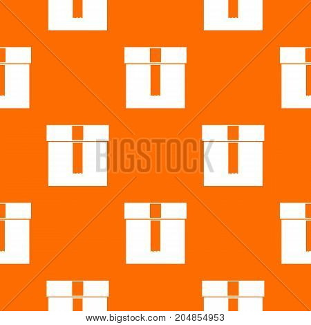 Box pattern repeat seamless in orange color for any design. Vector geometric illustration