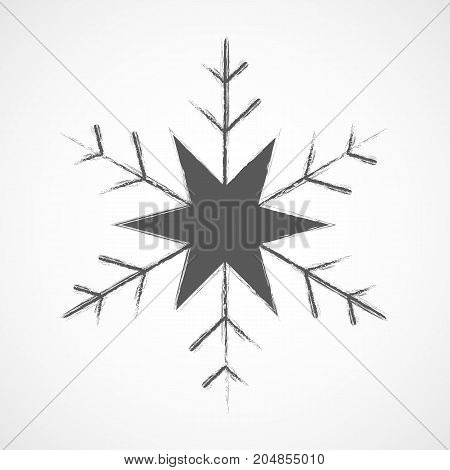 Snowflake icon. Gray snowflake isolated on light background. Vector illustration. Simple snowflake sign isolated.