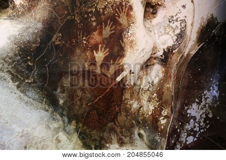Sulawesi Cave Art with hand imprints Indonesia.
